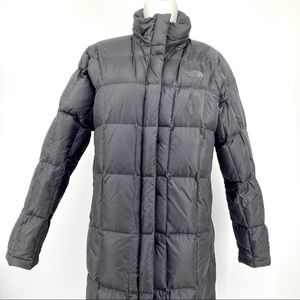 North Face: gray 600 down-filled long coat (M)